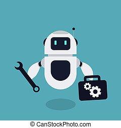 naprawa, wektor, robot, ilustracja, maskotka, płaski