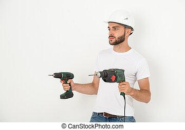 narzędzia, ręka, naprawiacz, młody