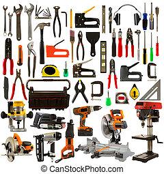 narzędzia, tło, odizolowany, biały
