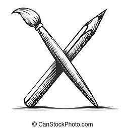 narzędzia, vector., artysta, ołówek, drawing., symbol., szczotka, sztuka