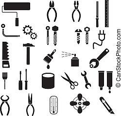 narzędzia, wektor, -, ikony