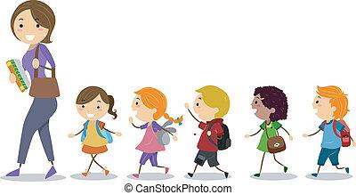 następujący, ich, dzieciaki, nauczyciel