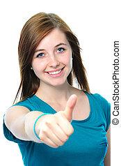 nastolatek, widać, do góry, samica, kciuki