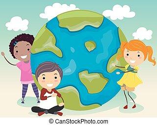 nasz, dzieciaki, stickman, świat