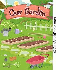 nasz, ogród, ilustracja, signage