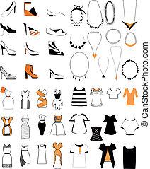 naszyjnik, damski, fason, komplet, obuwie