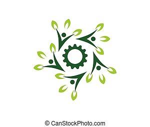 natura, ludzie, wektor, zdrowie, szablon, logo
