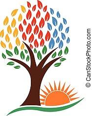 natura, wibrujący, drzewo, wektor, słońce, logo