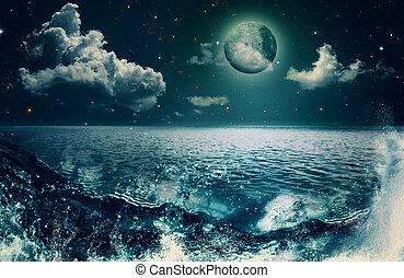 naturalne piękno, abstrakcyjny, tła, projektować, ocean, twój