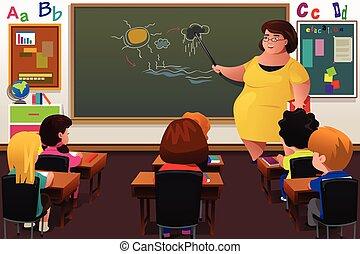 nauczanie, nauczyciel, klasa
