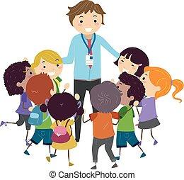 nauczyciel, dzieciaki, stickman, ulubieniec, ilustracja