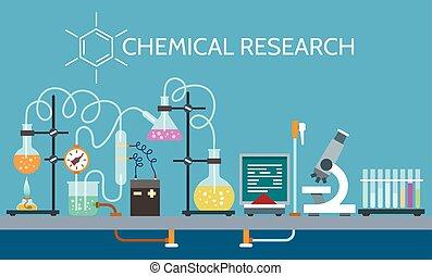 nauka, chemiczny, laboratorium
