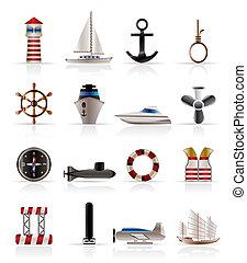 nawigacja, ikony, morze, marynarka