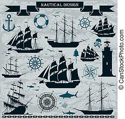 nawigacja okrętuje, komplet, elements., projektować, morski