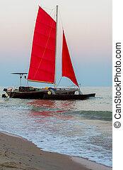 nawigacja, plaża, łódka, morze, katamaran