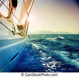 nawigacja, przeciw, jacht, nastrojony, sepia, sunset., sailboat.