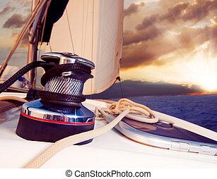 nawigacja, przeciw, jacht, podróż, sunset., sailboat.