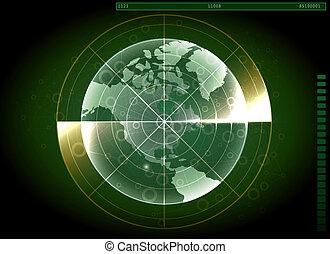 nawigacja, system, radar, ekran, świat, zielony, map., design.