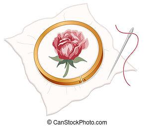 needlepoint, czerwony, haft, róża