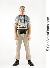 nerd., ubrany, człowiek
