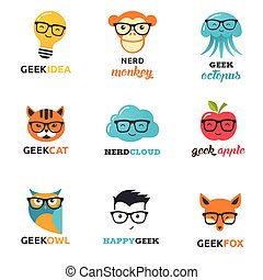 nerd, zwierzęta, ikony, -, symbolika, hipster, geek, mądry