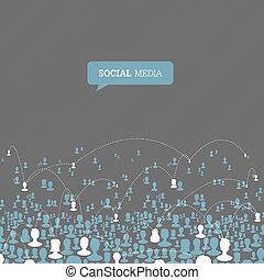 network., media, wektor, eps10, towarzyski