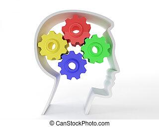neurologiczny, symbol, głowa, funkcjonowanie, przedstawiony, zdrowie, reprezentujący, depression., mechanizmy, mózg, pacjenci, inteligencja, mentalny, ludzki, funkcja, formułować