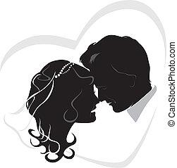newlyweds., ślub, ikona