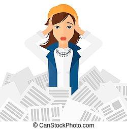 newspapers., kobieta, stóg