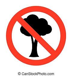 nie, drzewo, illustration., znak