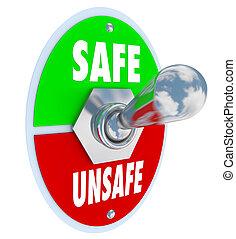niebezpieczeństwo, sejf, niepewny, witka, dźwignia kolankowa, vs, bezpieczeństwo, typować, albo