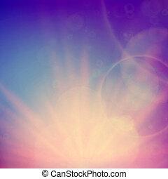 niebo, abstrakcyjny, flare., zachód słońca, soczewki