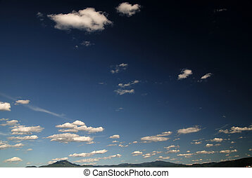 niebo, dramatyczny, chmury, błękitny
