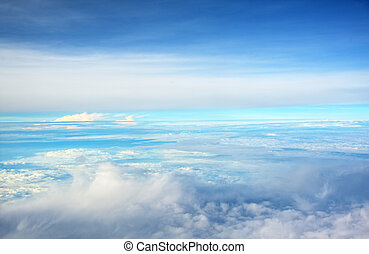 niebo, nad, chmury