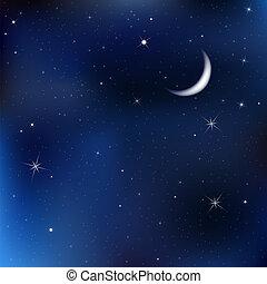 niebo nocy, gwiazdy, księżyc