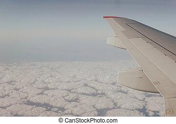 niebo, podróż, błękitny, skrzydło, chmury