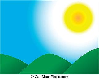 niebo, słońce, góry