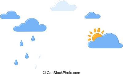 niebo, time., pogoda, słońce, deszcz, zmiana, pojęcie, tak samo, chmury, ziemia, klimat, planeta