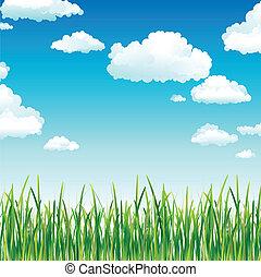 niebo, trawa, chmury, zielony, nad