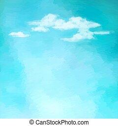 niebo, wektor, chmury, tło