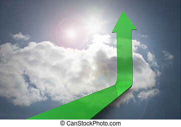niebo, zielony, strzała, przeciw, do góry, spoinowanie