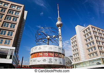 niemcy, alexanderplatz., zegar, worldtime, berlin