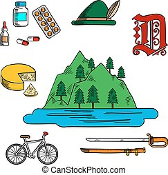 niemiec, symbolika, bawarka, podróż