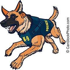 niemiecki pastuch, k9, policyjny pies