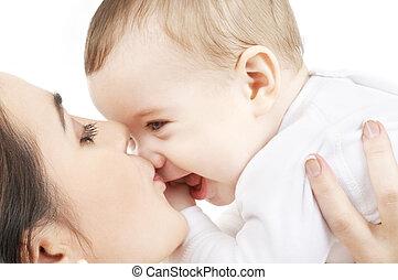 niemowlę, całowanie, macierz, szczęśliwy, chłopiec
