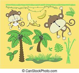 niemowlę, elementy, projektować, dżungla, rysunek