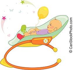 niemowlę, fotel bujany