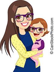 niemowlę, hipster, mamusia