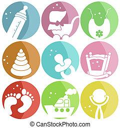 niemowlę, ikony, dziewięć, odzież