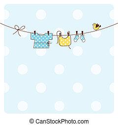 niemowlę, karta, przelotny deszcz, zaproszenie